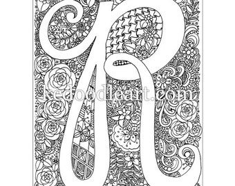 instant digital download adult coloring book letter r - Advanced Coloring Pages Letters