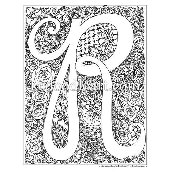 letter a coloring pages for adults - instant digital download adult coloring book letter r