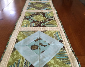 Modern, Quilted Table Runner in Beautiful Green,Light Blue and Beige Tones.