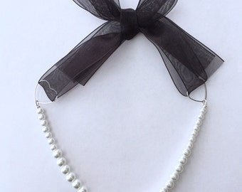 White Pearl necklace with adjustable organdy ribbon