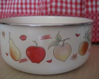 Vintage Enamel Bowl - Fruit
