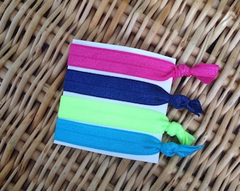 Neon Creaseless Hair Ties, Fashion Ponytail Holders, Bright Hair Ties, New Mommy Gift, stocking stuffer, New Mom Gift