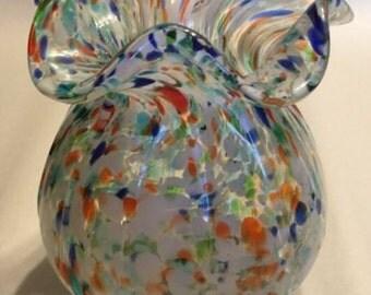 Gorgeous Vintage Hand Blown Murano Style Art Glass Vase Multi Color Swirl