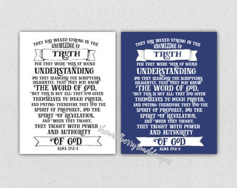 LDS scripture Alma 17:2-3 digital print.  For they were men of sound understanding....