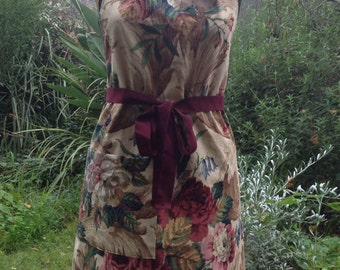 100% cotton floral full apron with generous pocket and pen pocket- up cycled from a vintage curtain