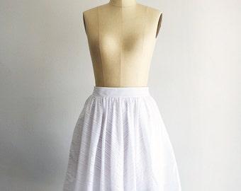 LAWN SKIRT - white cotton burnout stripe semi sheer skirt.  full gathered white skirt with pockets. vintage inspired knee length midi skirt