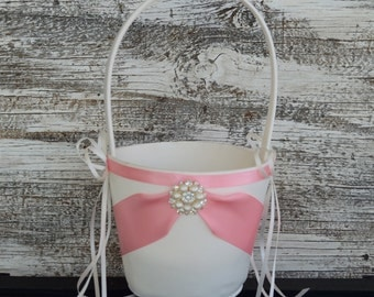 Wedding Flower Girl Basket, Ivory/White Wedding Basket, Pink Flower Girl Basket