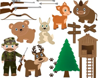 Hunting  Clipart Digital Clip Art Graphics Personal Commercial Use 049
