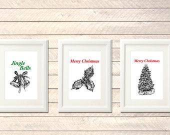Set of 3 Christmas printables, Christmas decor, Christmas gift, Jingle bells, Christmas tree, Mistletoe clipart, Free gift