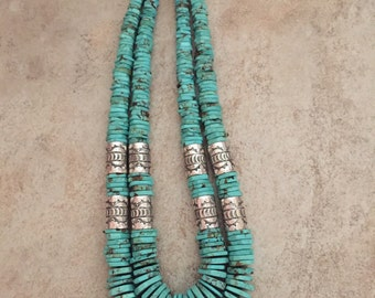 Two Strand Green Authentic Turquoise Necklace ~ Native American