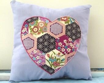 Decoration Zen method heart appliqué cushion