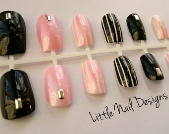 Pink and Black striped shimmer hand painted false nails