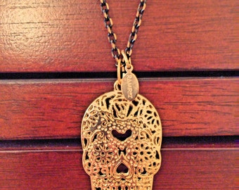 Skull Pendant Necklace-Gold
