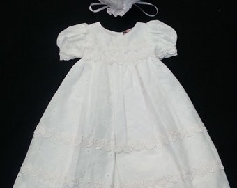 Christening Baptism Dress Gown Cotton Eyelet Baptism Dress Gown XS, S