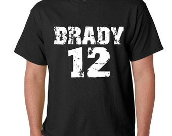 Men's Brady 12 Shirt Handmade Printed Football T-Shirt #1025 by Expression Tees Trending Clothing / Apparel USA Seller