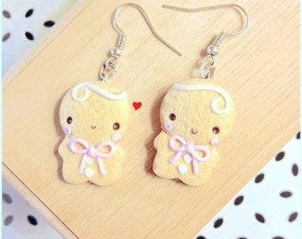 Orecchini Omino Marzapane Zenzero ~ Cute Gingerbread Earrings Fimo Polymer Clay Gingerbread Man Pan di Zenzero handmade Fake Food Cookie