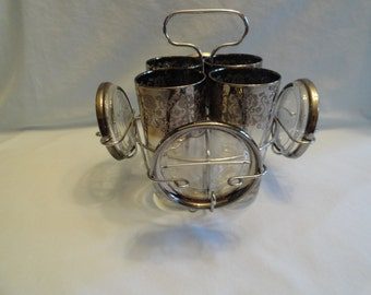 Very Nice Drink Caddy With 4 Glasses and Coasters