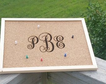 Monogrammed Message Board, Cork Bulletin Board