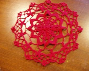 10 in Crochet Red Doily
