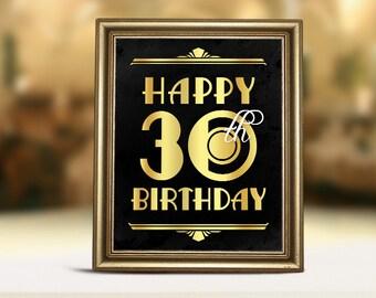 30th birthday decor, Happy 30th birthday, 30th birthday party, 30th birthday printable sign, 30th birthday decorations, birthday sign poster