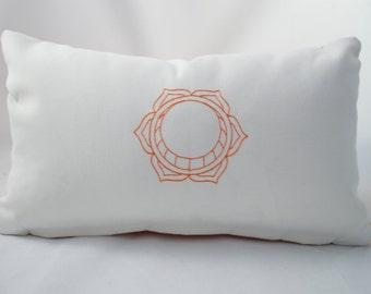 "Indoor/ Outdoor Sacral Chakra  Lumbar Yoga Pillow Cover. Fits a 12""x18"" pillow insert"