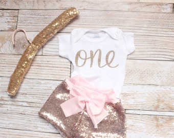 First Birthday Outfit Girl, baby sequin shorts, Pink and Gold Birthday Outfit,  baby girl clothes, 1st Birthday Outfit, Baby Girl