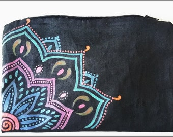 Hand painted zipped pouch