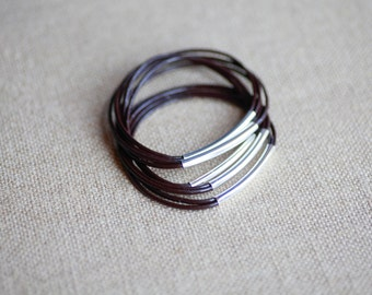 brown leather bangles, set of 5 bracelets, leather bracelets, brown and silver, silver bar, colour leather, set of bangles, mix bangles,