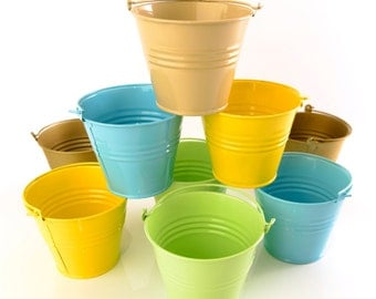 Large Coloured Metal Buckets (Pack 3)