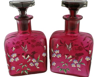 Pair of Glass Enameled Bottle Decanters