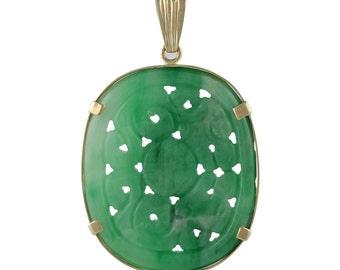 Vintage Chinese 14K Gold Carved Jadeite Pendant