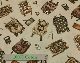 4308, Elizabeth's Studio, Sac à dos, I LOVE SCHOOL, Fat Quarter, yard, fabric, 100% cotton,