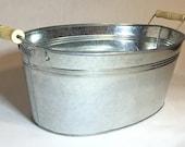 "Metal Bucket - Galvanized Oval Tub / Bucket (15"") - Great as a Metal Ice Bucket"