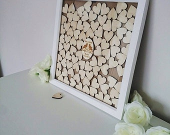 Guest Book Alternative,  Large Personalised Drop Top Box, Wedding Guest Book, Custom Guestbook. Heart Guestbook Gift And Keepsake.