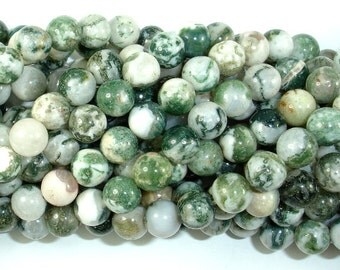 Tree Agate Beads, Round, 8 mm(8.5mm), 15 Inch, Full strand, Approx 46 beads, Hole 1 mm (428054002)