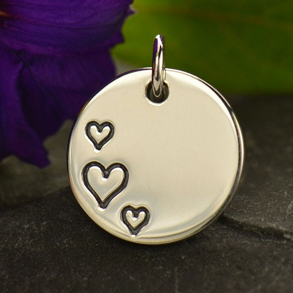 Sterling Silver Disc Charm Three Etched Hearts