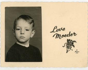 Long live mom! - original 60s vintage real photo holiday card- mother's day- boy portrait- paper ephemera