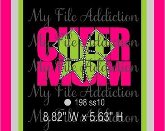 Instant Download Rhinestone SVG EPS Design File Cheer Mom Bow Knockout Vinyl & Rhinestones