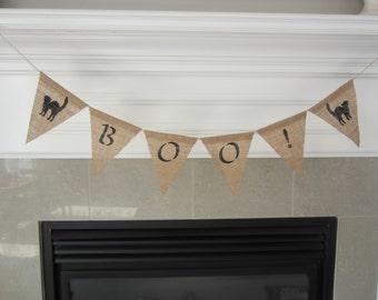 Boo! burlap banner - Halloween banner - burlap pennant - Boo banner