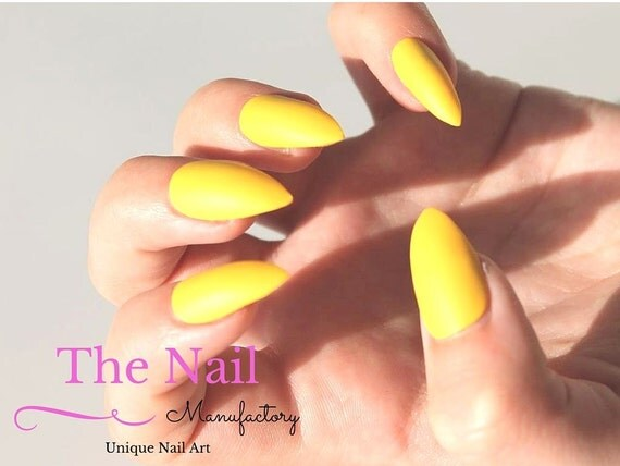 Matte Yellow Stiletto Nails Or Other Shapes False