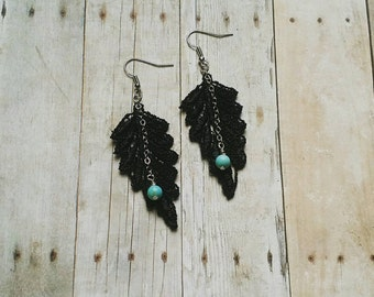Black Lace Earrings - with wire wrapped beaded chain