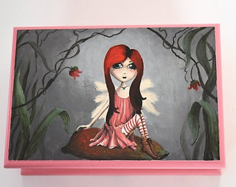 Goth Fairy Hand Painted One of A Kind Jewellery Box