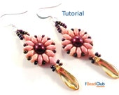SuperDuo Earring Pattern - Dagger Bead Earring Tutorial - Beading Pattern and Tutorial -  Beadweaving Tutorial - PDF- Dagger Dangle Earrings