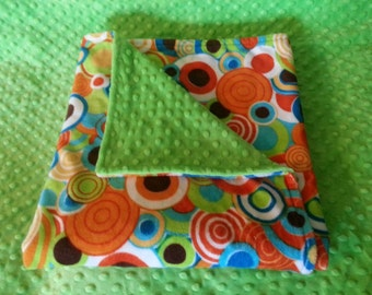 Baby or Toddler Minky Blanket - Minky Cuddle Blanket - Lime Green Minky Dot - Minky Colorful Circles - Ready to Ship!