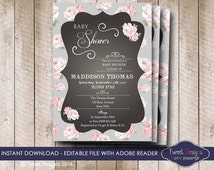 SHABBY CHIC Baby Shower Invitation, Instant Download High Tea Invitation, Rose Baby Shower Invitation, Edit yourself with Adobe Reader