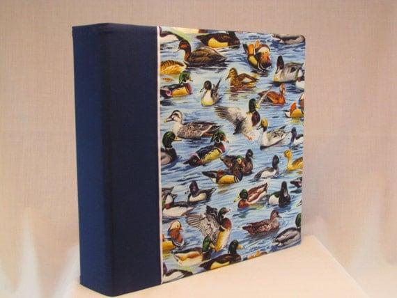 12x12 Postbound Fabric Scrapbook Photo Album Memory Book Handmade Mallard Wood Duck Geese Hunter Minnesota Lake AO54 Album Outfitters