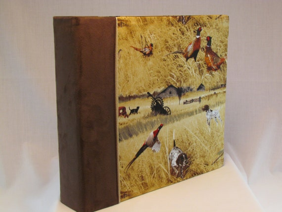 12x12 Postbound Fabric Scrapbook Photo Album Memory Book Handmade Pheasants Patridge Duck Geese Hunter Hunting Outdoor AO14 Album Outfitters