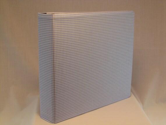 12x12 Postbound Fabric Scrapbook Photo Album Memory Book Baby Boy Shower Light Blue Gingham Checkered Checked AO21 Album Outfitters