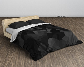 Black Geometric Camouflage Duvet Cover - Twin, Queen, King sizes available