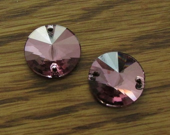 14mm Rivoli Sew On Crystal, 2pcs Amethyst Swarovski 3200, February, Sew On Stone, Sew On Rhinestones, Jewelry Link, Crystal Connector